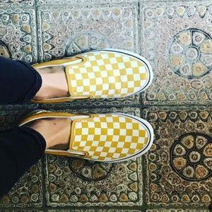 VANS Ochre/White Checkerboard Slip-On Sneaker